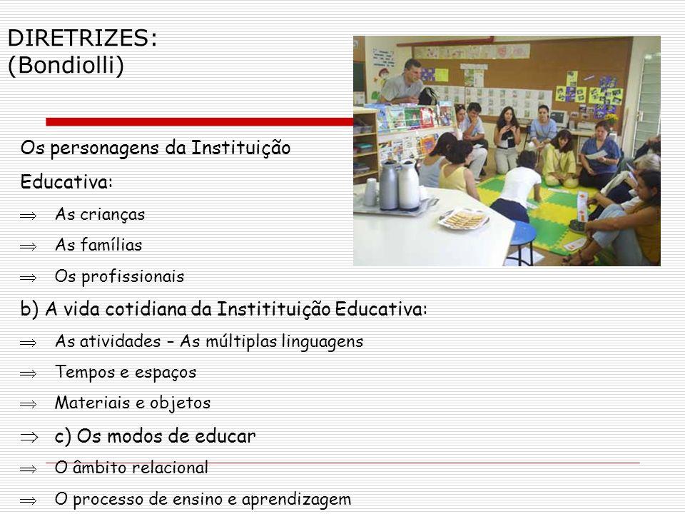 Os personagens da Instituição Educativa: As crianças As famílias Os profissionais b) A vida cotidiana da Institituição Educativa: As atividades – As m