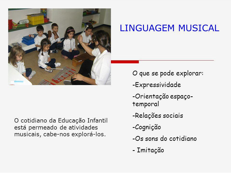 O que se pode explorar: -Expressividade -Orientação espaço- temporal -Relações sociais -Cognição -Os sons do cotidiano - Imitação LINGUAGEM MUSICAL O