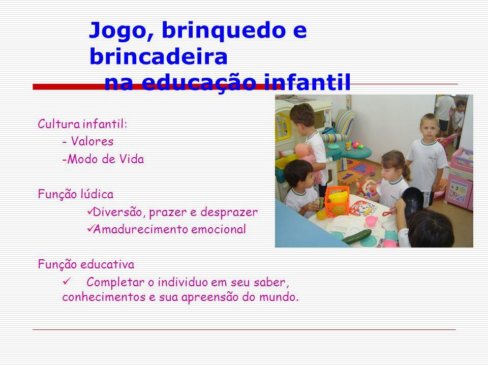 Cultura infantil: - Valores -Modo de Vida Função lúdica Diversão, prazer e desprazer Amadurecimento emocional Função educativa Completar o individuo e