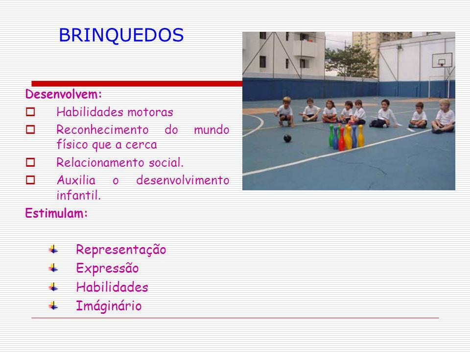Desenvolvem: Habilidades motoras Reconhecimento do mundo físico que a cerca Relacionamento social. Auxilia o desenvolvimento infantil. Estimulam: Repr