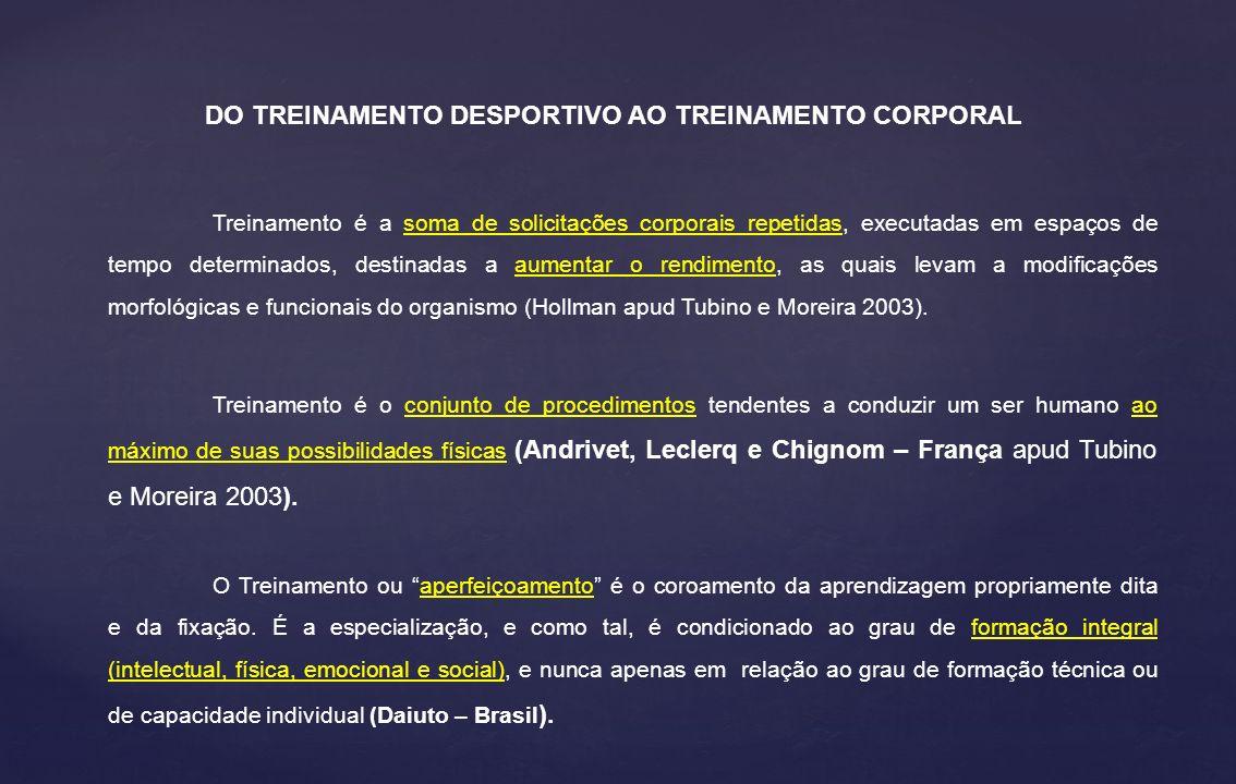 DO TREINAMENTO DESPORTIVO AO TREINAMENTO CORPORAL Treinamento é o conjunto de procedimentos tendentes a conduzir um ser humano ao máximo de suas possibilidades físicas (Andrivet, Leclerq e Chignom – França apud Tubino e Moreira 2003).
