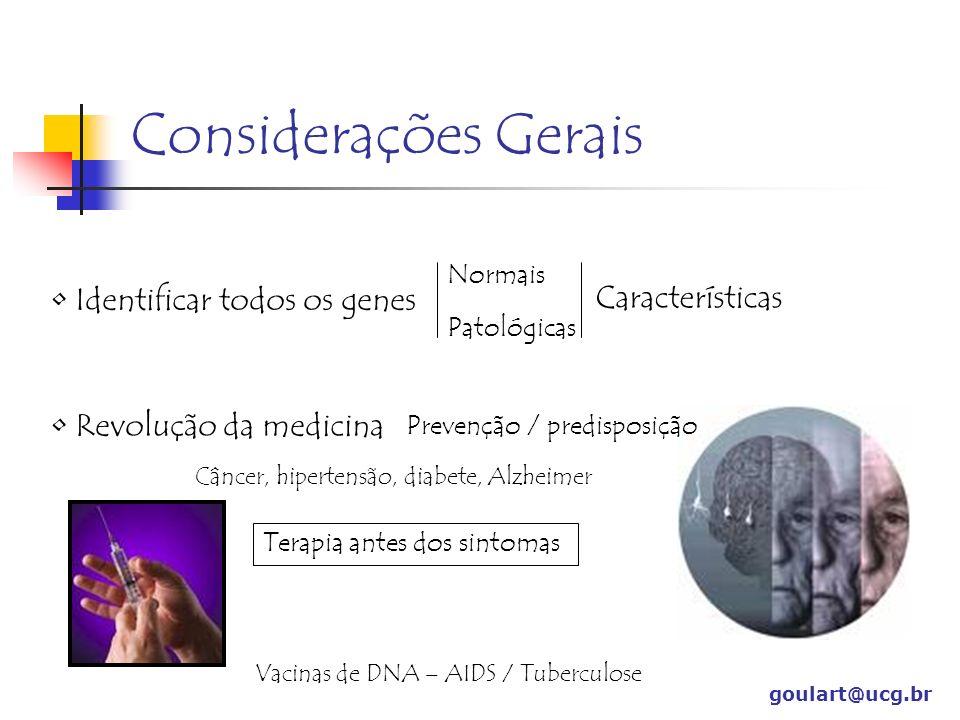 Considerações Gerais goulart@ucg.br Identificar todos os genes Normais Patológicas Características Revolução da medicina Prevenção / predisposição Cân