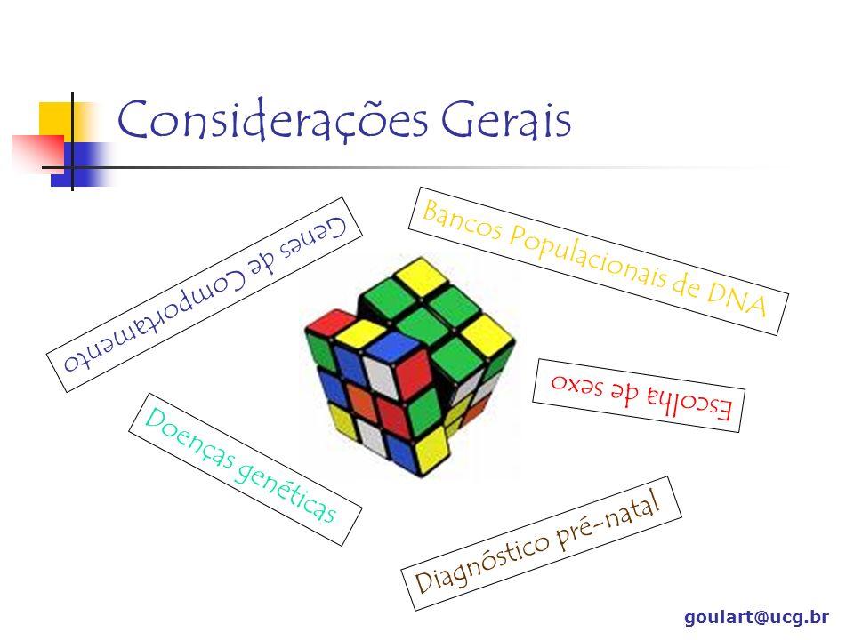 goulart@ucg.br Considerações Gerais Bancos Populacionais de DNA Genes de Comportamento Escolha de sexo Doenças genéticas Diagnóstico pré-natal