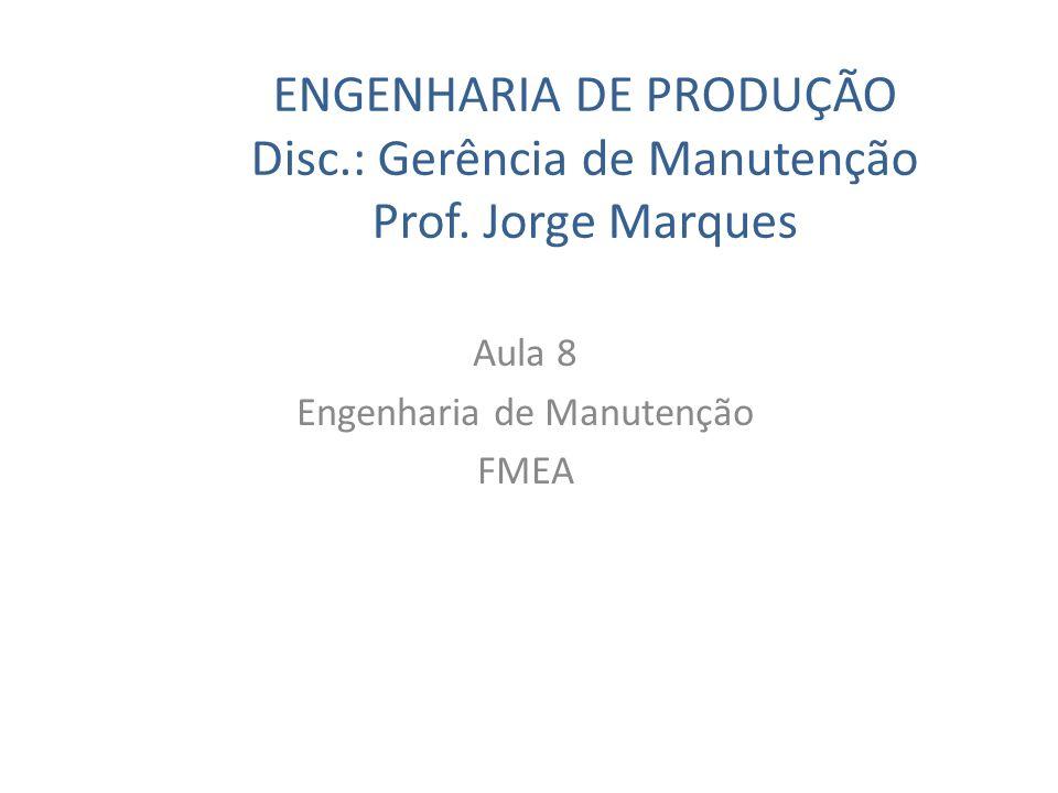 ENGENHARIA DE PRODUÇÃO Disc.: Gerência de Manutenção Prof. Jorge Marques Aula 8 Engenharia de Manutenção FMEA