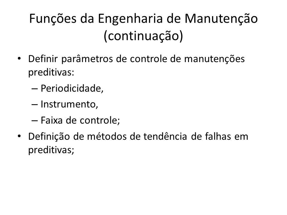 Funções da Engenharia de Manutenção (continuação) Definir parâmetros de controle de manutenções preditivas: – Periodicidade, – Instrumento, – Faixa de