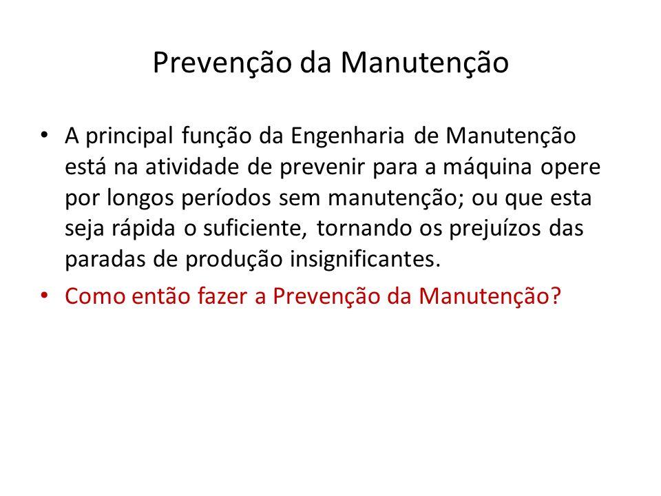 Prevenção da Manutenção A principal função da Engenharia de Manutenção está na atividade de prevenir para a máquina opere por longos períodos sem manu