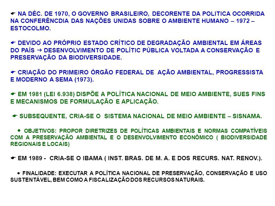 NA DÉC. DE 1970, O GOVERNO BRASILEIRO, DECORENTE DA POLITICA OCORRIDA NA CONFERÊNCDIA DAS NAÇÕES UNIDAS SOBRE O AMBIENTE HUMANO – 1972 – ESTOCOLMO. DE