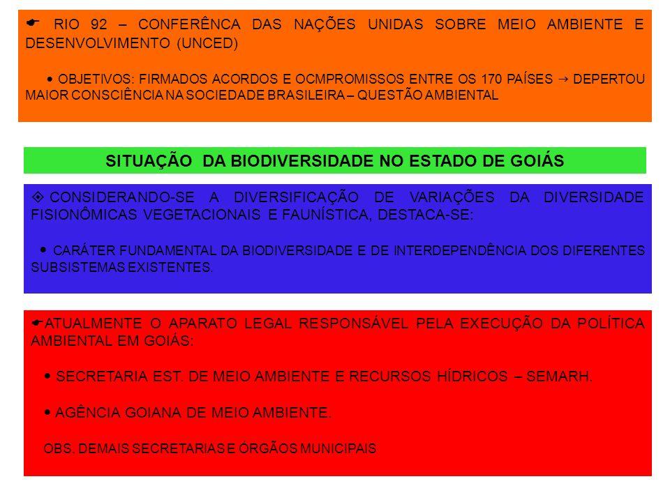 RIO 92 – CONFERÊNCA DAS NAÇÕES UNIDAS SOBRE MEIO AMBIENTE E DESENVOLVIMENTO (UNCED) OBJETIVOS: FIRMADOS ACORDOS E OCMPROMISSOS ENTRE OS 170 PAÍSES DEP
