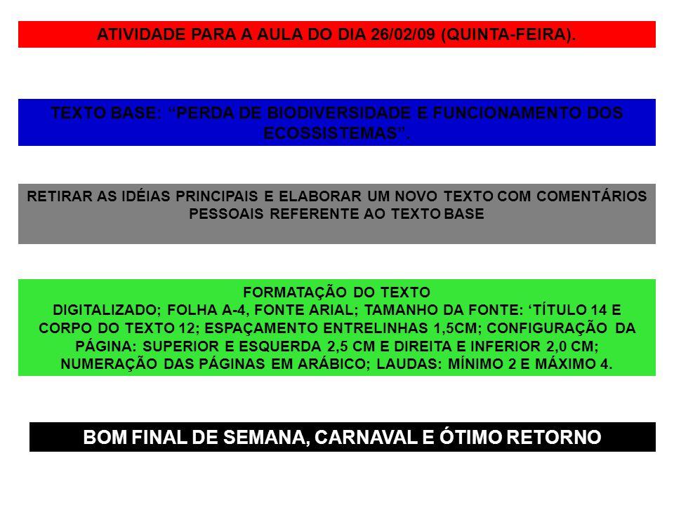 ATIVIDADE PARA A AULA DO DIA 26/02/09 (QUINTA-FEIRA). TEXTO BASE: PERDA DE BIODIVERSIDADE E FUNCIONAMENTO DOS ECOSSISTEMAS. RETIRAR AS IDÉIAS PRINCIPA