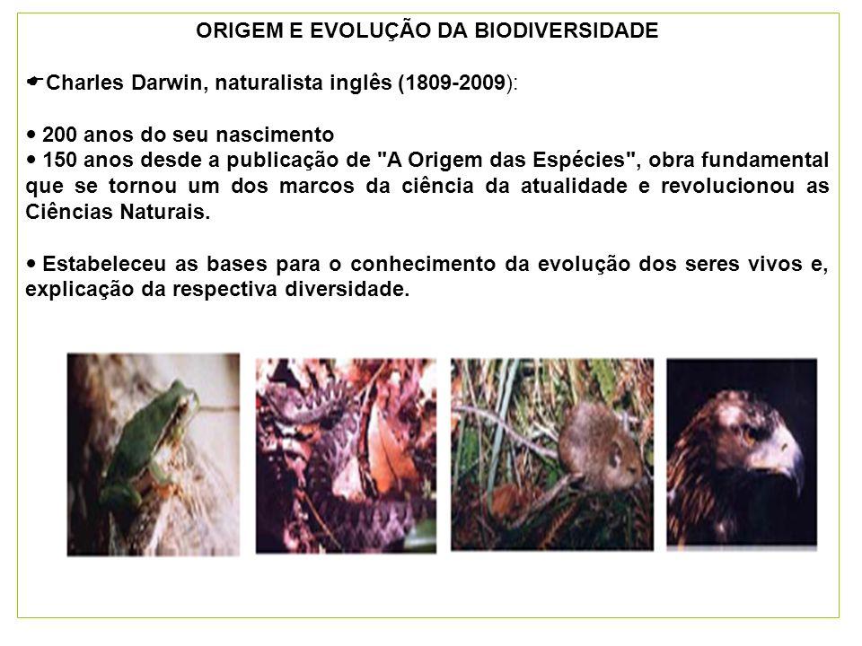 ORIGEM E EVOLUÇÃO DA BIODIVERSIDADE Charles Darwin, naturalista inglês (1809-2009): 200 anos do seu nascimento 150 anos desde a publicação de