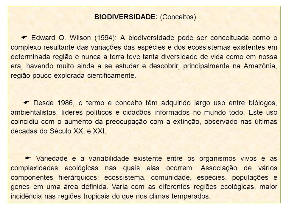 BIODIVERSIDADE: (Conceitos) Edward O. Wilson (1994): A biodiversidade pode ser conceituada como o complexo resultante das variações das espécies e dos