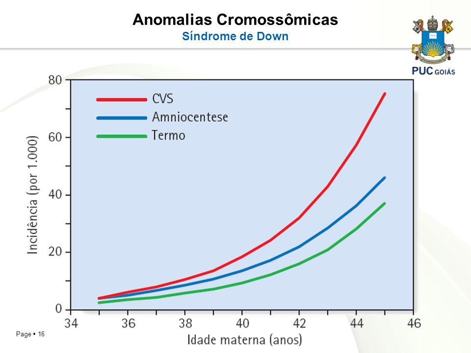 Page 16 Anomalias Cromossômicas Síndrome de Down