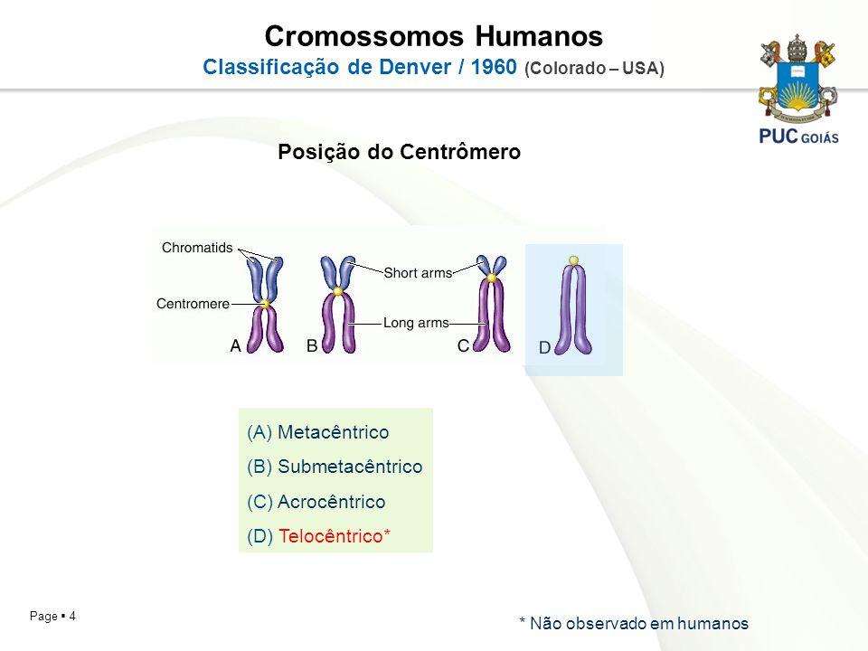 Page 4 Cromossomos Humanos Classificação de Denver / 1960 (Colorado – USA) (A) Metacêntrico (B) Submetacêntrico (C) Acrocêntrico (D) Telocêntrico* Pos