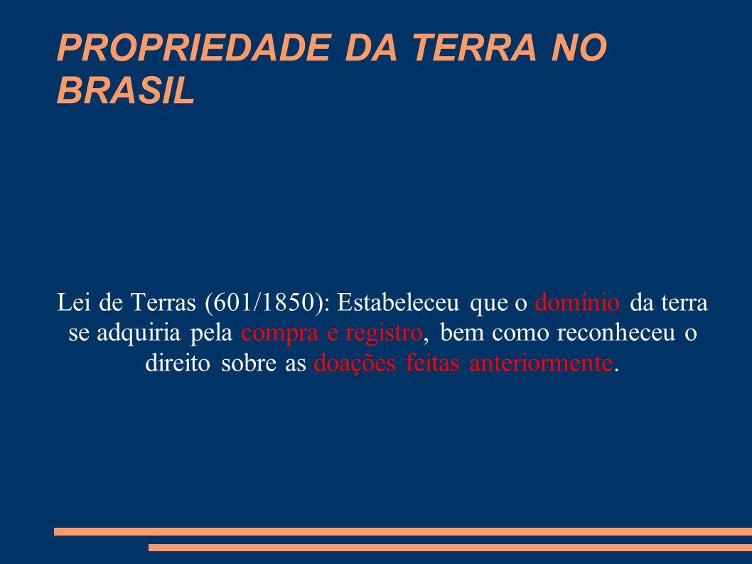 PROPRIEDADE DA TERRA NO BRASIL Dessa forma, a titularidade das terras brasileiras ficou assim dividida: 1.