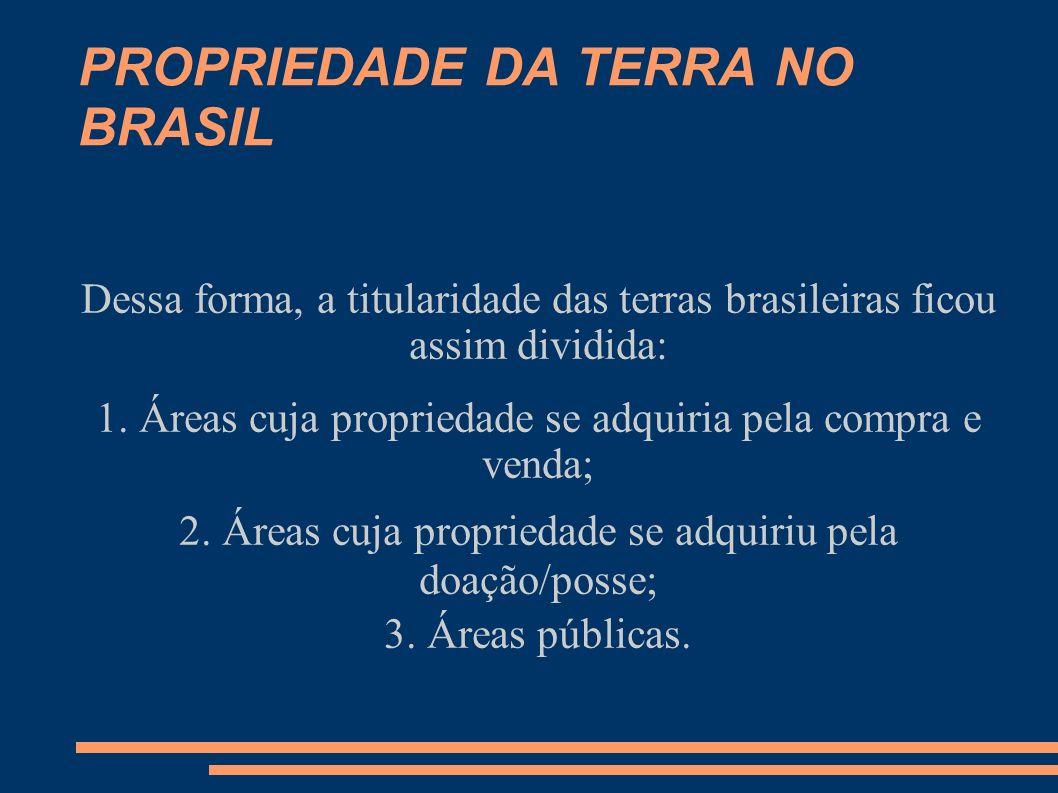 PROPRIEDADE DA TERRA NO BRASIL Áreas Públicas: 1.