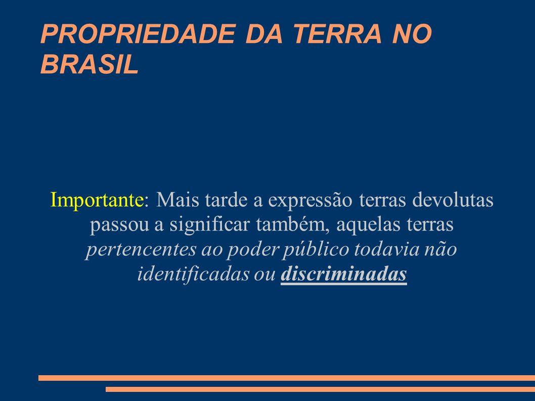 PROPRIEDADE DA TERRA NO BRASIL Discriminar = Separar, Identificar