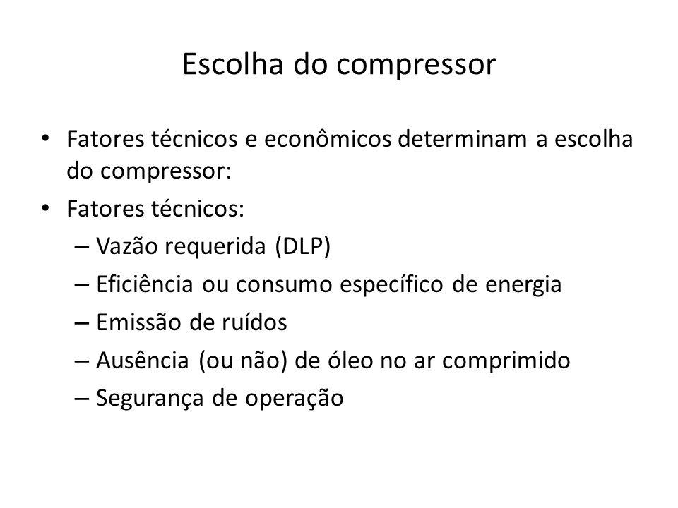 Escolha do compressor Fatores econômicos: – Custo de operação: consumo específico, segurança de operação, custo de manutenção, custo de resfriamento.