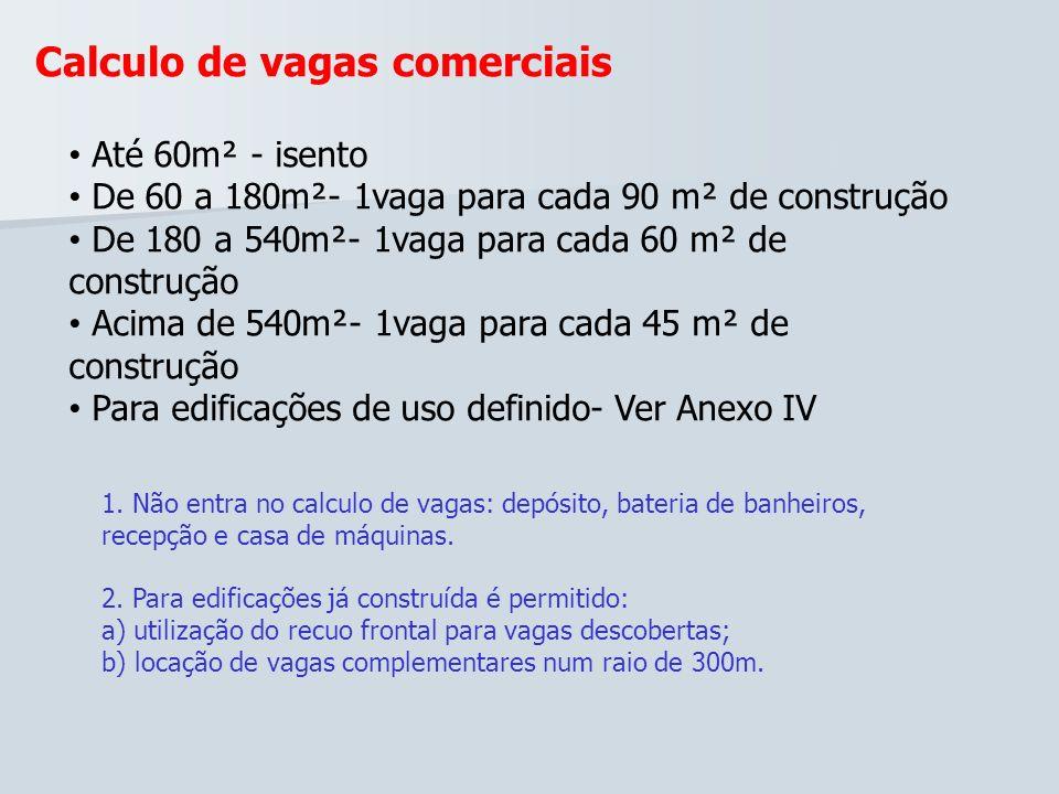 Calculo de vagas comerciais Até 60m² - isento De 60 a 180m²- 1vaga para cada 90 m² de construção De 180 a 540m²- 1vaga para cada 60 m² de construção A