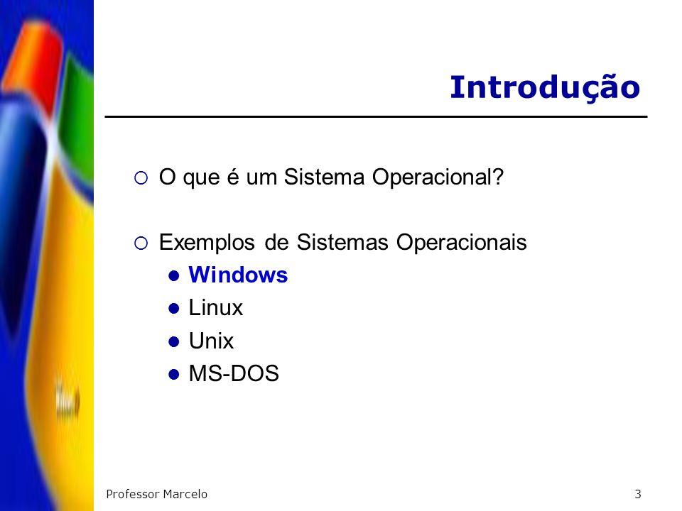Professor Marcelo3 Introdução O que é um Sistema Operacional? Exemplos de Sistemas Operacionais Windows Linux Unix MS-DOS
