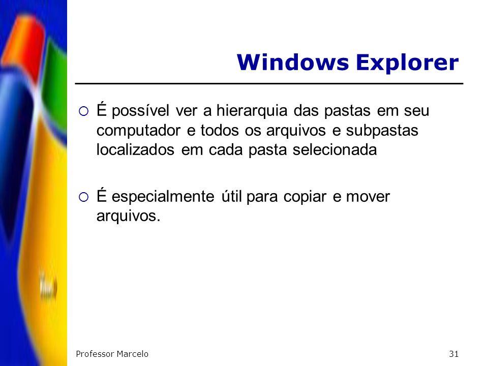Professor Marcelo31 Windows Explorer É possível ver a hierarquia das pastas em seu computador e todos os arquivos e subpastas localizados em cada past