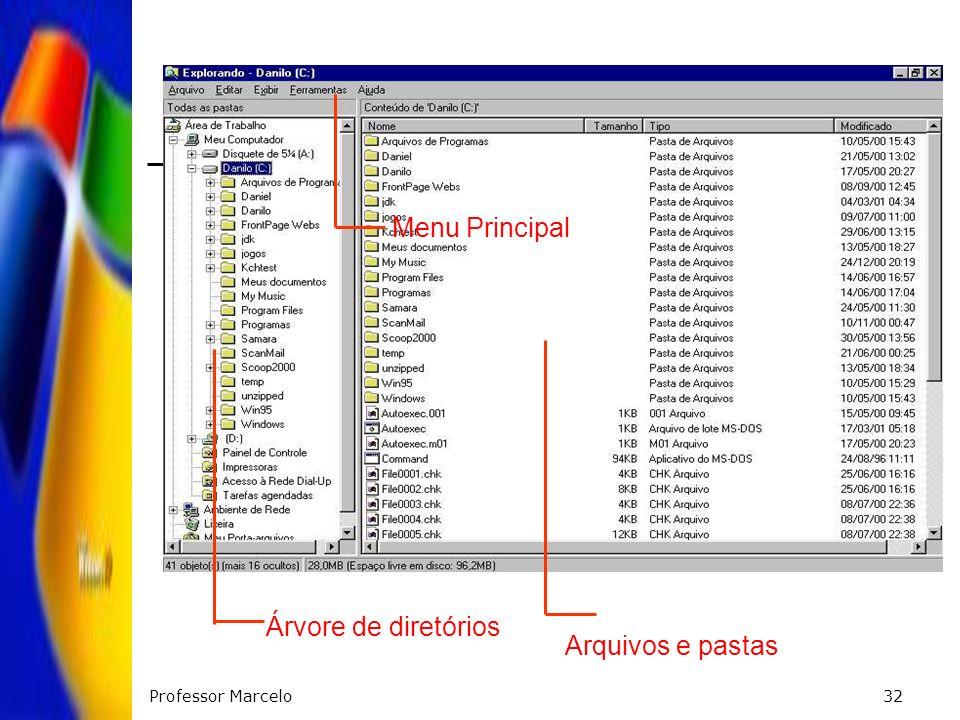 Professor Marcelo32 Arquivos e pastas Árvore de diretórios Menu Principal
