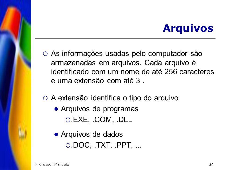 Professor Marcelo34 As informações usadas pelo computador são armazenadas em arquivos. Cada arquivo é identificado com um nome de até 256 caracteres e