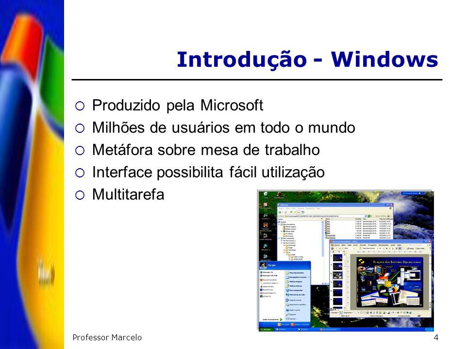 Professor Marcelo4 Introdução - Windows Produzido pela Microsoft Milhões de usuários em todo o mundo Metáfora sobre mesa de trabalho Interface possibi