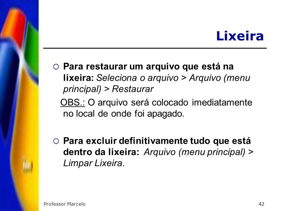 Professor Marcelo42 Para restaurar um arquivo que está na lixeira: Seleciona o arquivo > Arquivo (menu principal) > Restaurar OBS.: O arquivo será col