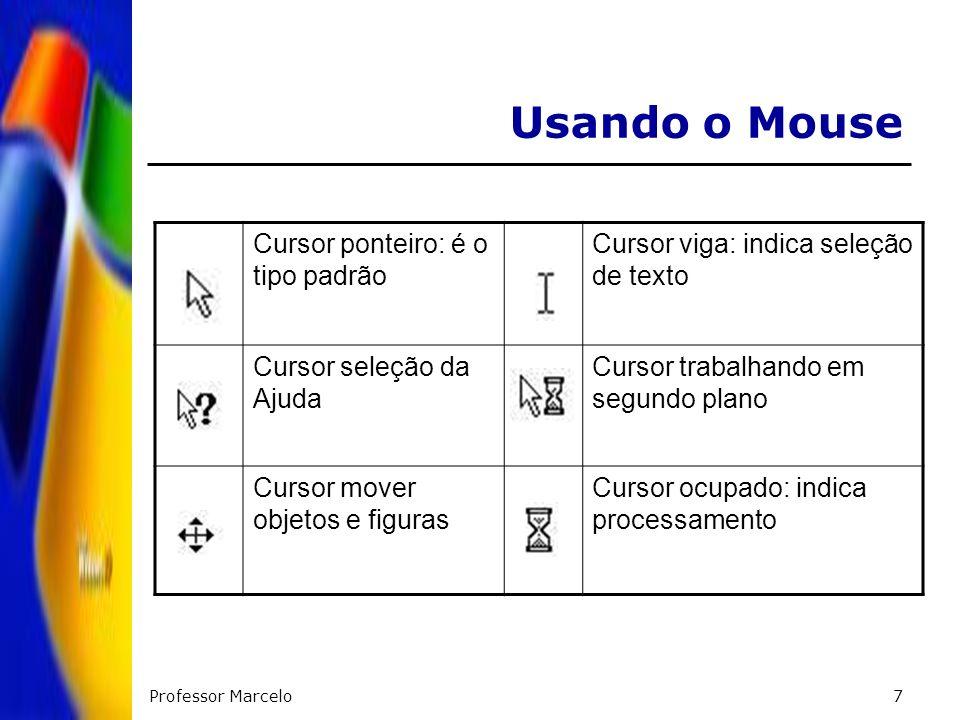 Professor Marcelo7 Usando o Mouse Cursor ponteiro: é o tipo padrão Cursor viga: indica seleção de texto Cursor seleção da Ajuda Cursor trabalhando em
