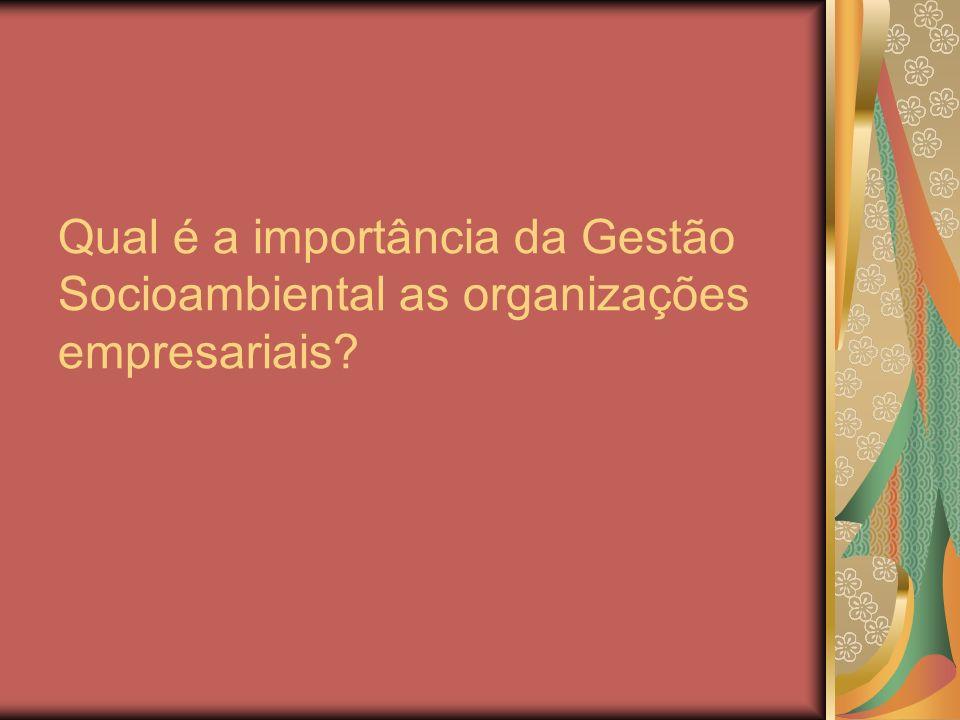 Qual é a importância da Gestão Socioambiental as organizações empresariais?