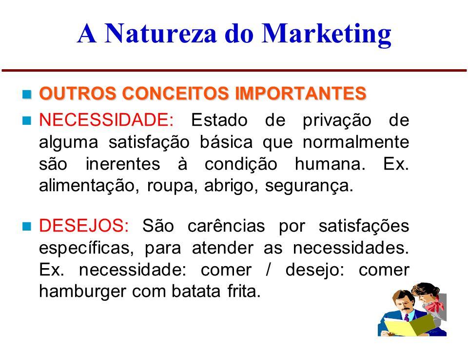 A Natureza do Marketing OUTROS CONCEITOS IMPORTANTES OUTROS CONCEITOS IMPORTANTES - PRODUTO: Um produto é tudo aquilo capaz de satisfazer a um desejo.