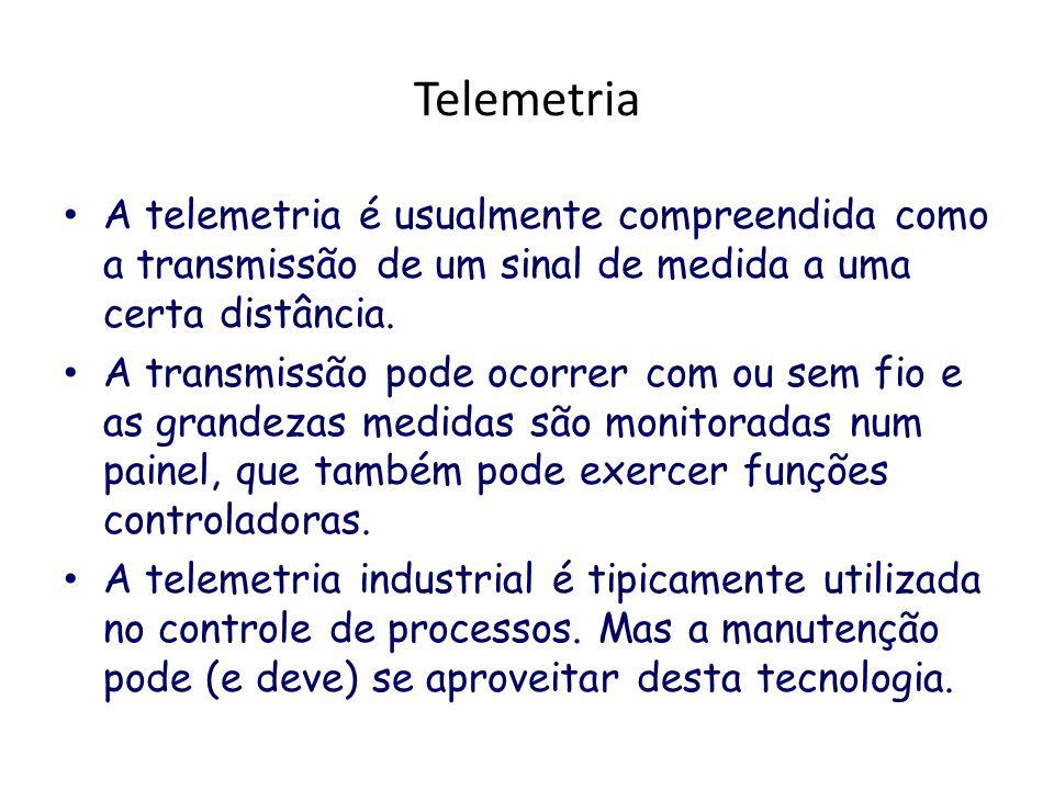 Telemetria A telemetria é usualmente compreendida como a transmissão de um sinal de medida a uma certa distância. A transmissão pode ocorrer com ou se