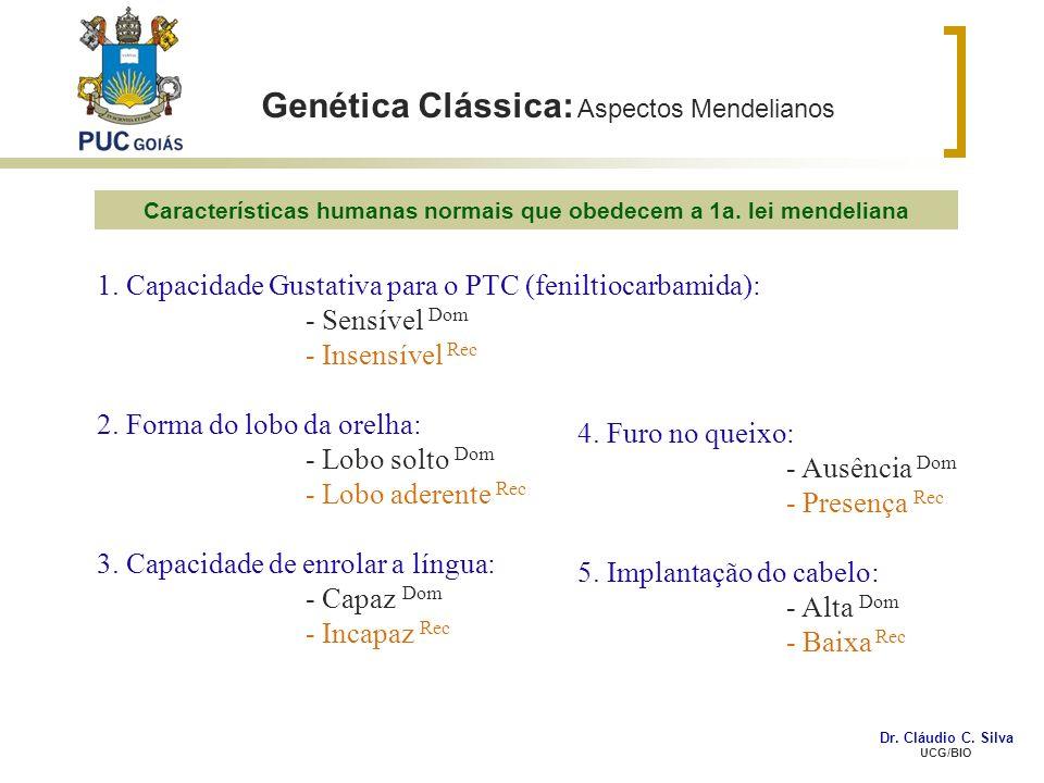 Genética Clássica: Aspectos Mendelianos 1. Capacidade Gustativa para o PTC (feniltiocarbamida): - Sensível Dom - Insensível Rec 2. Forma do lobo da or
