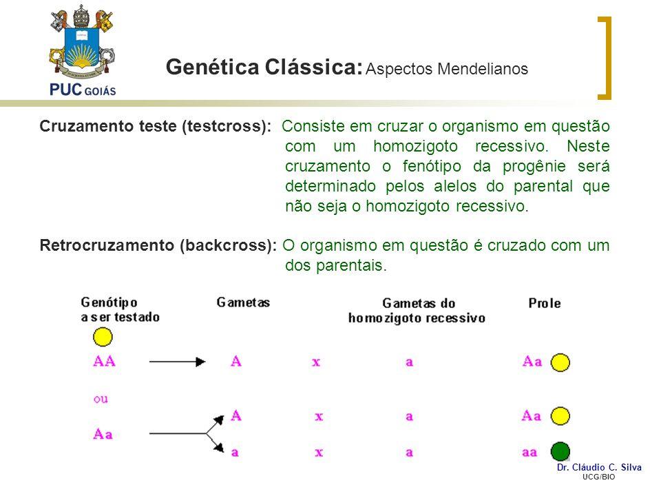 Genética Clássica: Aspectos Mendelianos Cruzamento teste (testcross): Consiste em cruzar o organismo em questão com um homozigoto recessivo. Neste cru