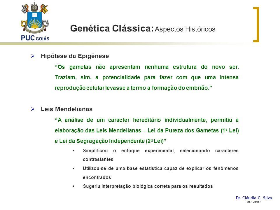 Genética Clássica: Aspectos Históricos Hipótese da Epigênese Os gametas não apresentam nenhuma estrutura do novo ser. Traziam, sim, a potencialidade p