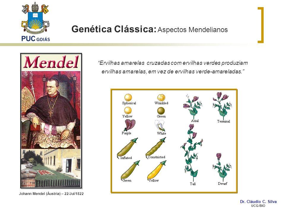 Genética Clássica: Aspectos Mendelianos Ervilhas amarelas cruzadas com ervilhas verdes produziam ervilhas amarelas, em vez de ervilhas verde-amarelada
