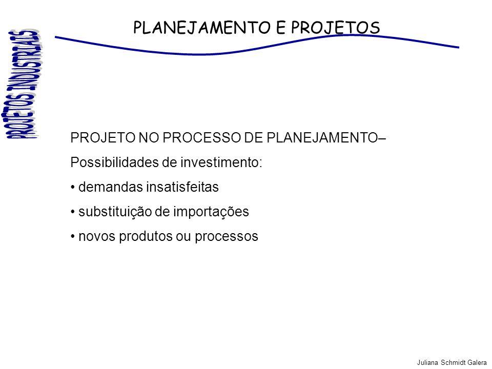 Juliana Schmidt Galera PLANEJAMENTO E PROJETOS PROJETO NO PROCESSO DE PLANEJAMENTO– Possibilidades de investimento: demandas insatisfeitas substituiçã