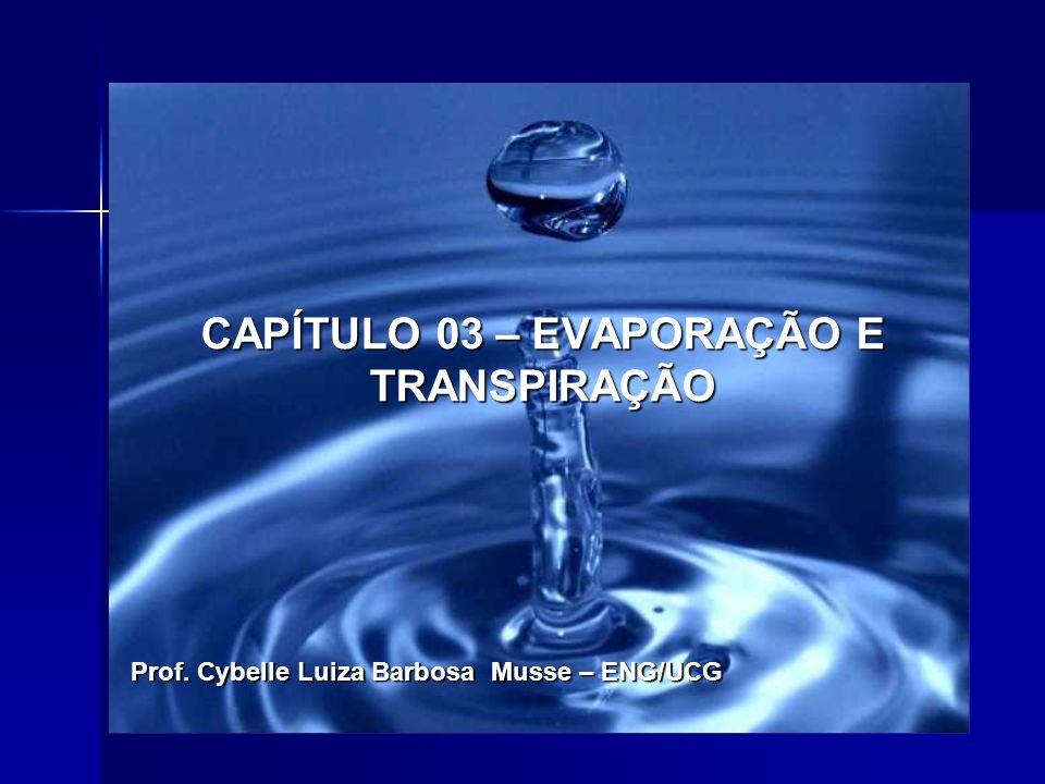 CAPÍTULO 03 – EVAPORAÇÃO E TRANSPIRAÇÃO Prof. Cybelle Luiza Barbosa Musse – ENG/UCG