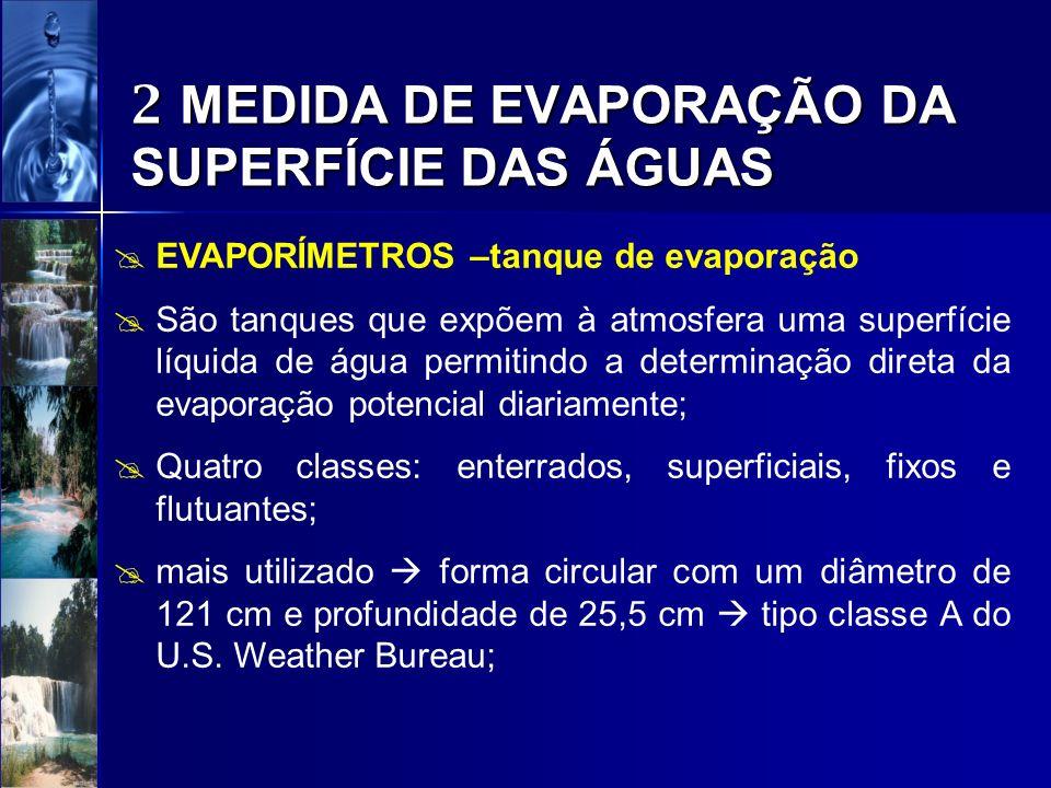 2 MEDIDA DE EVAPORAÇÃO DA SUPERFÍCIE DAS ÁGUAS EVAPORÍMETROS –tanque de evaporação São tanques que expõem à atmosfera uma superfície líquida de água p