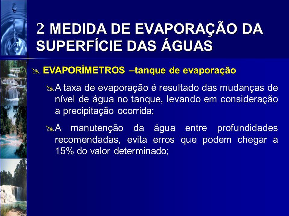 2 MEDIDA DE EVAPORAÇÃO DA SUPERFÍCIE DAS ÁGUAS EVAPORÍMETROS –tanque de evaporação A taxa de evaporação é resultado das mudanças de nível de água no t