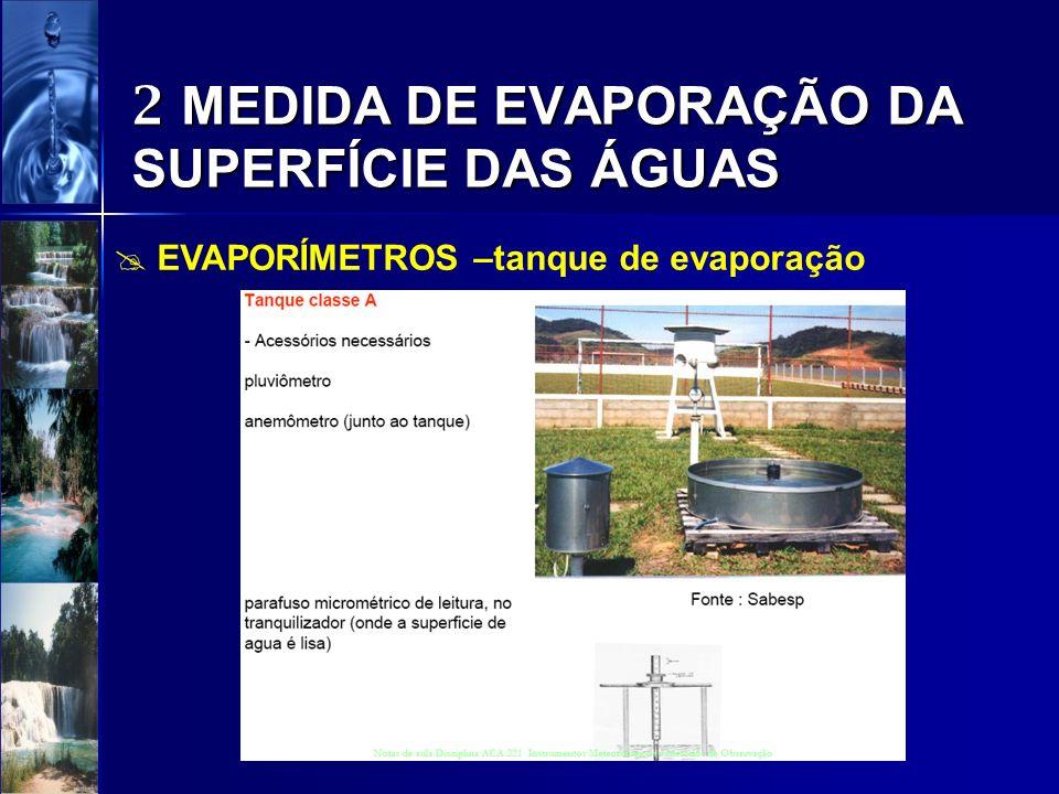 2 MEDIDA DE EVAPORAÇÃO DA SUPERFÍCIE DAS ÁGUAS EVAPORÍMETROS –tanque de evaporação