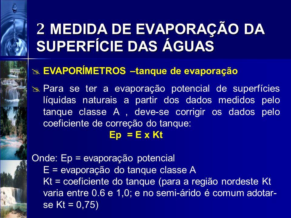 2 MEDIDA DE EVAPORAÇÃO DA SUPERFÍCIE DAS ÁGUAS EVAPORÍMETROS –tanque de evaporação Para se ter a evaporação potencial de superfícies líquidas naturais