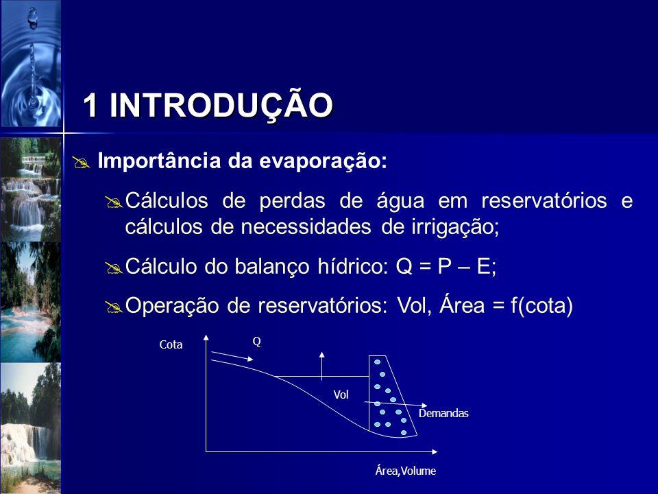 Importância da evaporação: Cálculos de perdas de água em reservatórios e cálculos de necessidades de irrigação; Cálculo do balanço hídrico: Q = P – E;
