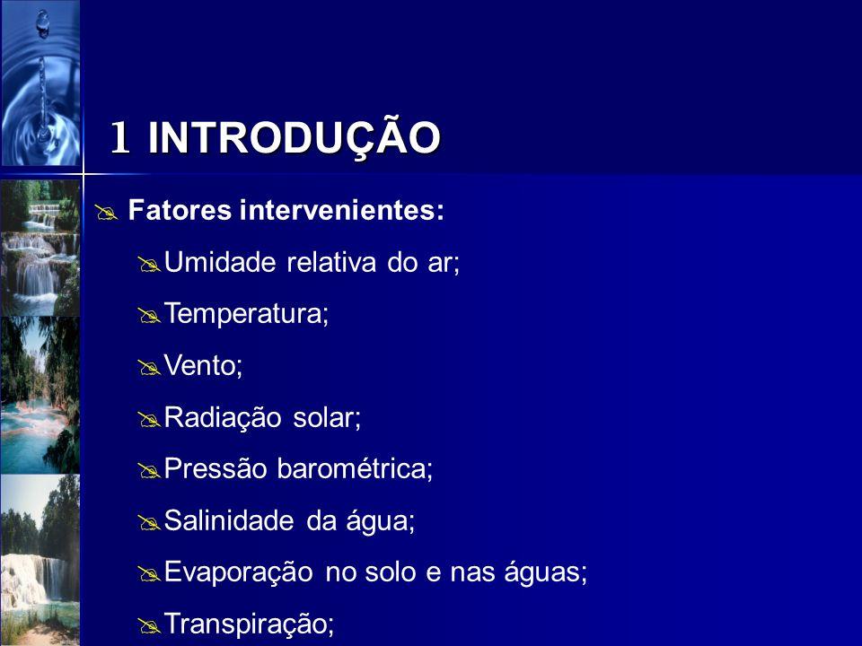 1 INTRODUÇÃO Fatores intervenientes: Umidade relativa do ar; Temperatura; Vento; Radiação solar; Pressão barométrica; Salinidade da água; Evaporação n