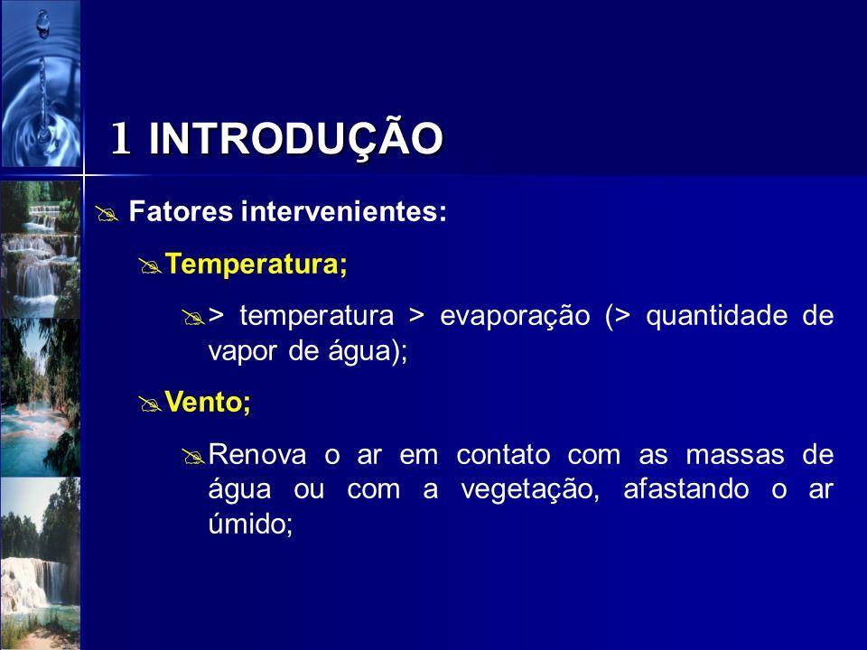 1 INTRODUÇÃO Fatores intervenientes: Temperatura; > temperatura > evaporação (> quantidade de vapor de água); Vento; Renova o ar em contato com as mas