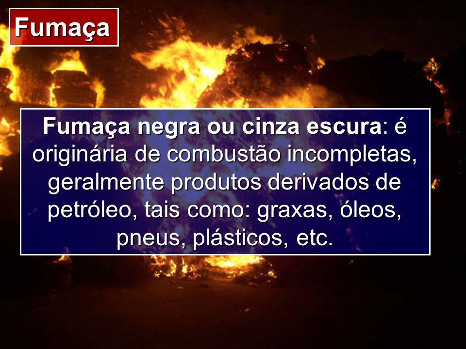 Fumaça Fumaça negra ou cinza escura: é originária de combustão incompletas, geralmente produtos derivados de petróleo, tais como: graxas, óleos, pneus