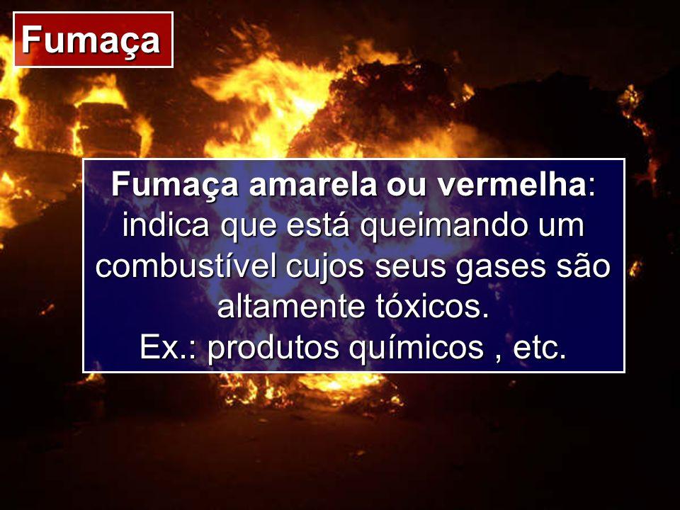 Fumaça Fumaça amarela ou vermelha: indica que está queimando um combustível cujos seus gases são altamente tóxicos. Ex.: produtos químicos, etc.