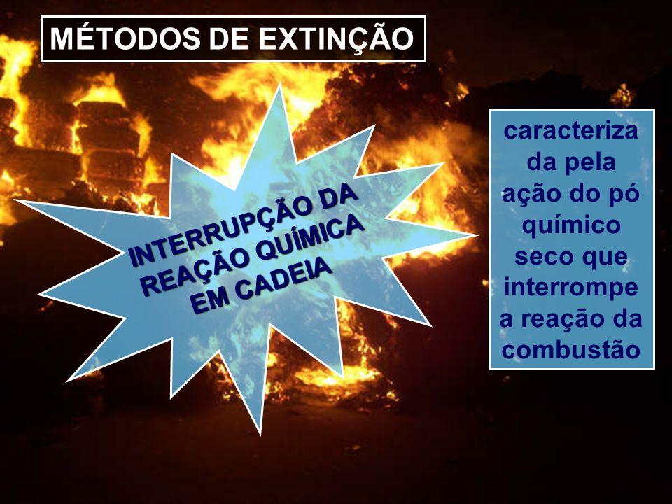 MÉTODOS DE EXTINÇÃO INTERRUPÇÃO DA REAÇÃO QUÍMICA EM CADEIA caracteriza da pela ação do pó químico seco que interrompe a reação da combustão