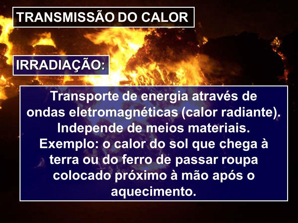 TRANSMISSÃO DO CALOR IRRADIAÇÃO: Transporte de energia através de ondas eletromagnéticas (calor radiante). Independe de meios materiais. Exemplo: o ca