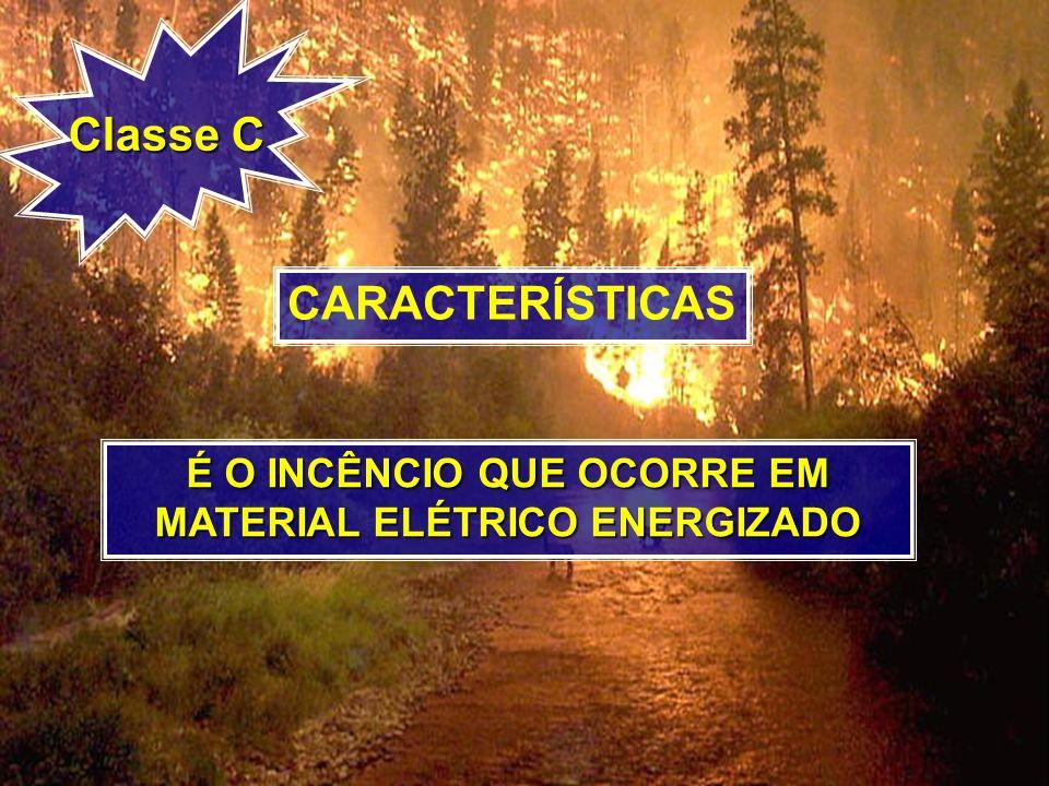 Classe C CARACTERÍSTICAS É O INCÊNCIO QUE OCORRE EM MATERIAL ELÉTRICO ENERGIZADO